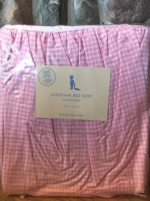 Pottery Barn Kids Pink Gingham Bed Skirt 100% cotton new