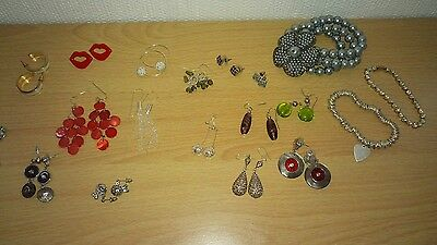 Job Lot Of 22 Fashion Jewellery & 3 Sterling Silver Earrings Bracelet Necklaces