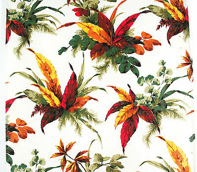 vintage 1950s French autumn leaves floral print cotton barkcloth fabric piece