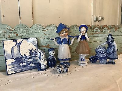 Vintage Delft Plus Blue And White Collection Germany England Japan (6) Pieces