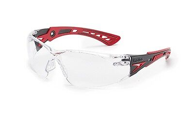 Bolle Rush Plus Safety Glasses | Black/Red Temples | Clear Anti-Fog Lens