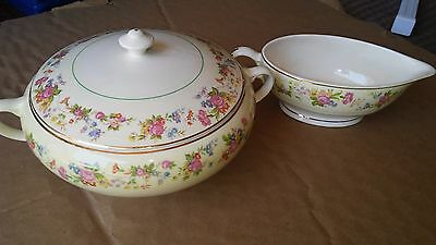 Debutante Pattern by Salem China Floral Serving Bowl with lid and Gravy Boat