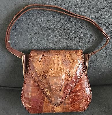 Vintage Alligator Purse Full Body Women's Shoulder Bag Snap Closure