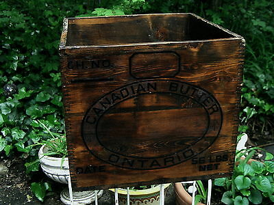 Vtg 1929 Canadian Butter Ontario Wood Crate Box