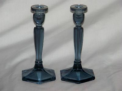 Pair Of Fenton Blue Florentine Candlesticks 8 1/2""