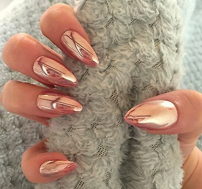 FALSE NAILS - Rose Gold Chrome, Mirror, Holographic - Stick On - The Holy Nail