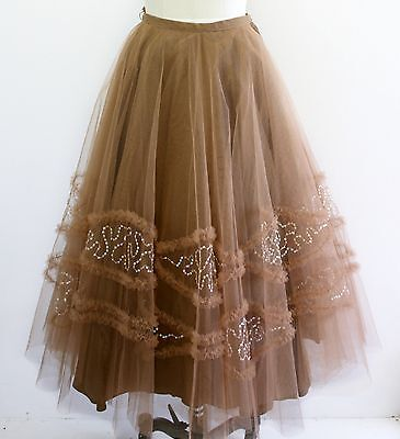 Vintage 1950s 50s mocha brown sequin ruffle tulle full circle skirt - 25 in xs