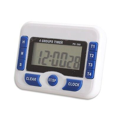 3-Channel Count Down Timer Digital Display Clock Timing Device Precise Blue M1N4