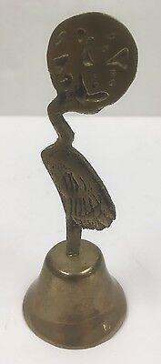 "Vintage Brass Metal Small 4"" Bird Servant/dinner Bell Made In India Collectible"