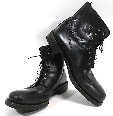 Prada Black Leather Combat Lace Up Mens Ankle Boots Size 11