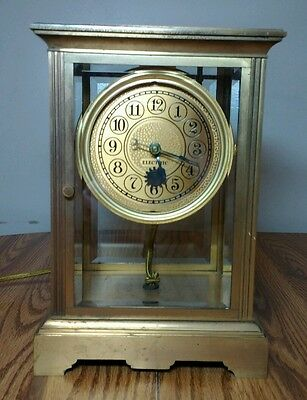 Vintage Electric Carriage Anniversary Glass Brass Clock - WORKING