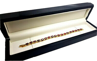 Red ruby tennis bracelet in luxury Red wooden Bracelet box gift idea Brilliant