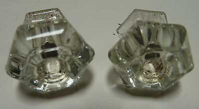 Set of 2 Vintage Glass Hexagon 6 Sided Drawer Cupboard Knobs