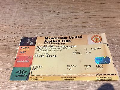 Manchester United V Swindon Town League Cup 1996/7- Ticket Stub