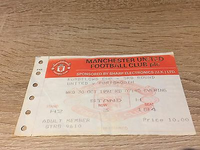 Manchester United V Portsmouth League Cup 1991/2- Winners- Ticket Stub