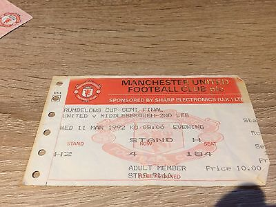 Manchester United V Middlesbrough League Cup Semi Final 1992 Winners-Ticket Stub