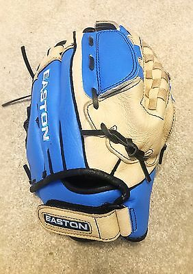 "Easton FPT12 12"" Softball glove - Real Leather, Blue & Cream Game Ready Mitt"