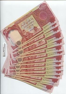 100,000 CRISP Iraqi Dinar UNCIRCULATED SERIAL NUMBERED Currency 4 x 25,000 25000
