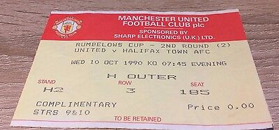 Manchester United V Halifax Town League Cup 1990/1 Ticket Stub