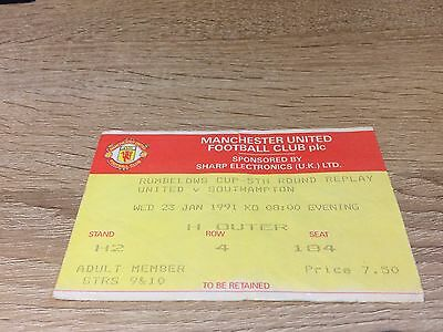 Manchester United V Southampton League Cup Replay 1990/91-Ticket Stub