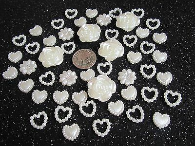 50 Pearl Hearts Flower Mix Ivory Embellishments Craft Supply Scrapbooking Card