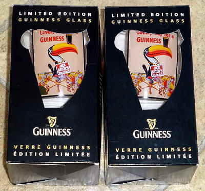 Lot of 2 Limited Edition Jack Astor's Guinness Pint Beer Glasses with Toucan New