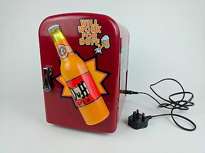 The Simpsons Duff Beer Mini Fridge Collectable, Lights Up Cooler / Heater