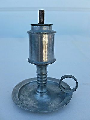 "Antique Petite 19th C Pewter Whale Oil Lamp Finger Chamberstick 4"" American"
