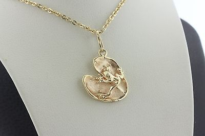 14K Yellow Gold Detailed Frog on Lily Pad Leaf Charm Pendant