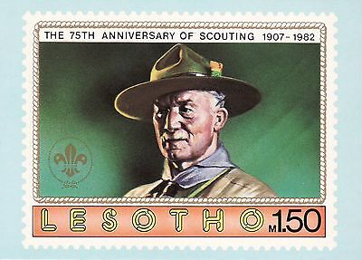 PHQ Stamp Postcard x 6 - 75th Anniversary of Scouting Lesotho