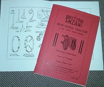 British Anzani Iron Horse Tractor Instruction Manual and Spare Parts List