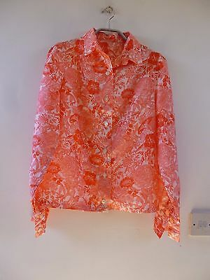 Unbranded true vintage silky 70s shirt/blouse/top size S