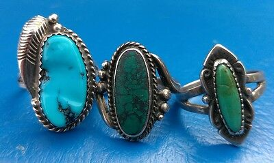Sterling Silver Navajo Turquoise 3 Ring Lot, 2 Fred Harvey Era, Signed