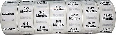 White Baby Toddler Clothing Size Stickers, 3/4 Inch Round, 500 Total Labels