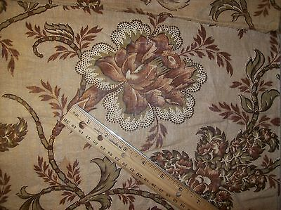 "Antique 19c Chintz Fabric Madder/Olive 24"" selvages x 20"" (2)"