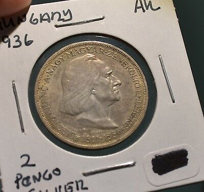 Hungary 1936 2 Pengo Silver Coin – Great Condition Beautiful Color  - N62