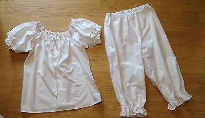 Handmade Victorian style pyjamas set camisole/top and bloomers, new, sizes 4-30