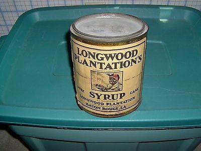 Vintage Black Longwood Plantation's Pure Cane Syrup Tin With Label