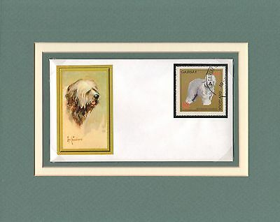 Old English Sheepdog custom matted handcrafted one-of-a kind cover stamp cachet