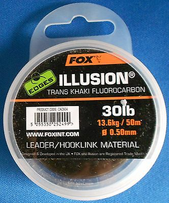FOX EDGES ILLUSION 30lb 50m TRANS KHAKI FLOUROCARBON CAC604 LEADER HOOKLINK