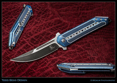 Todd Begg In-House-Custom Sun Tzu Kwaiken Cracked Ice Blue Titanium CPM-S35VN!
