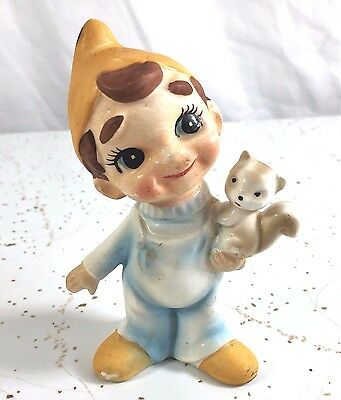 Boy Elf wearing Overalls holding Squirrel Made in Japan Figurine Cute!