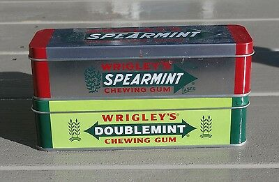 Pair of Vintage WRIGLEY'S CHEWING GUM TINS- SPEARMINT and DOUBLEMINT