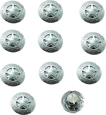 3/4'' 21mm Western Concho Texas Star Saddle DIY Leathercraft  Bright Silver 10PC
