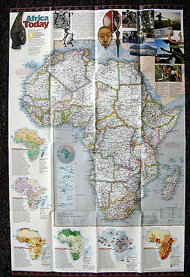 Africa Natural Realms / Africa Today  National Geographic Map Poster Sept 2001