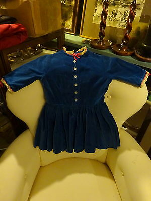 Vintage 1930s Girls Blue Velvet Dress Debenham & Freebody Wigmore W1 St London