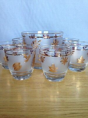 Vintage Libbey Frosted Gold Leaf Ice Bucket w/ 6 High Ball Whiskey Glasses Nice