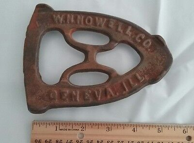 "Antique SAD Cast Iron Trivet W H Howell Co Geneva Ill 4 1/4"" X 6"" 3 Footed"