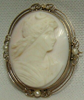 Antique 10K Gold Cameo Lady Portrait Brooch Pin Pendant W Seed Pearl Victorian