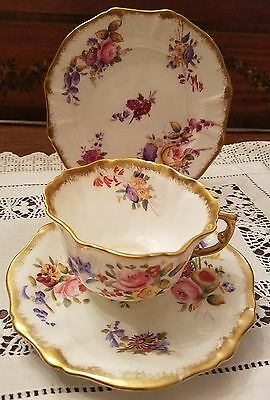 1912-39 Hammersley Hand Painted China TRIO Cup Saucer Plate Dresden Sprays 12668